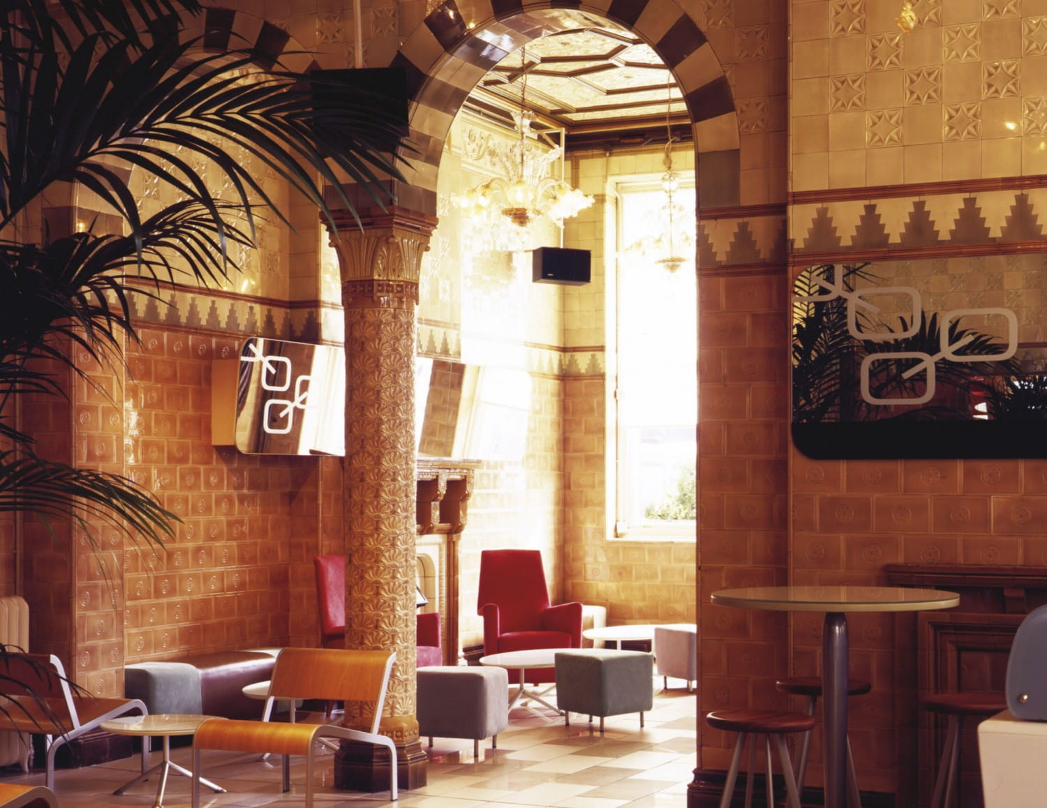 The tiled interior of the corner Gin71 bar