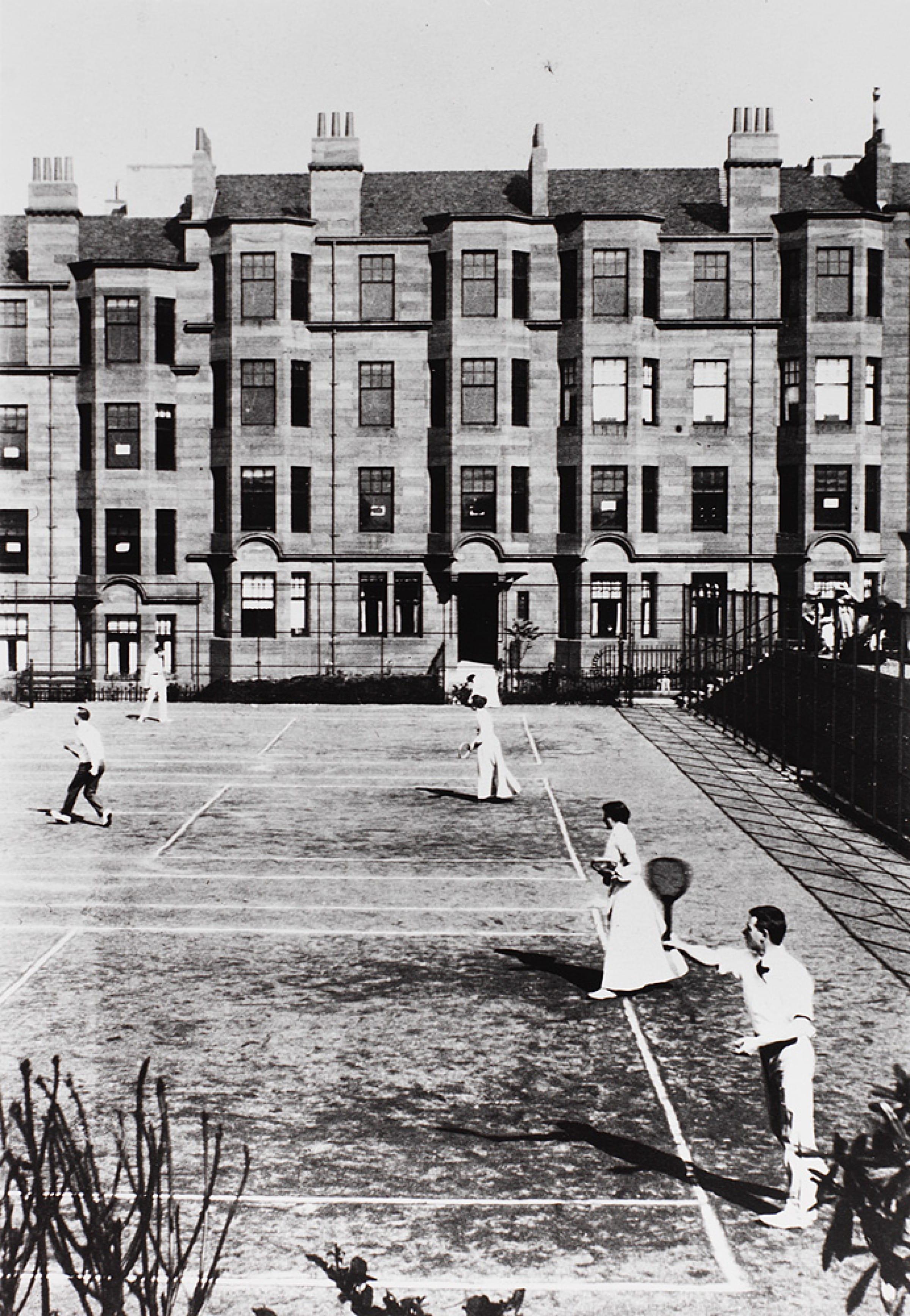 Glasgow's net assets (Tennis courts on North Gardner Street in Partickhill, c 1900. (Glasgow University Archives))