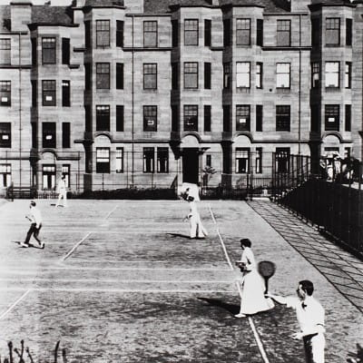 Glasgow's net assets (Tennis courts on North Gardner Street in Partickhill, c 1900. (Glasgow University Archives))