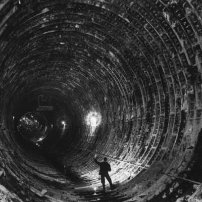 Let there be light! (One of the twin tunnels before the installation of the road deck and tunnel lining (Herald and Times Group))