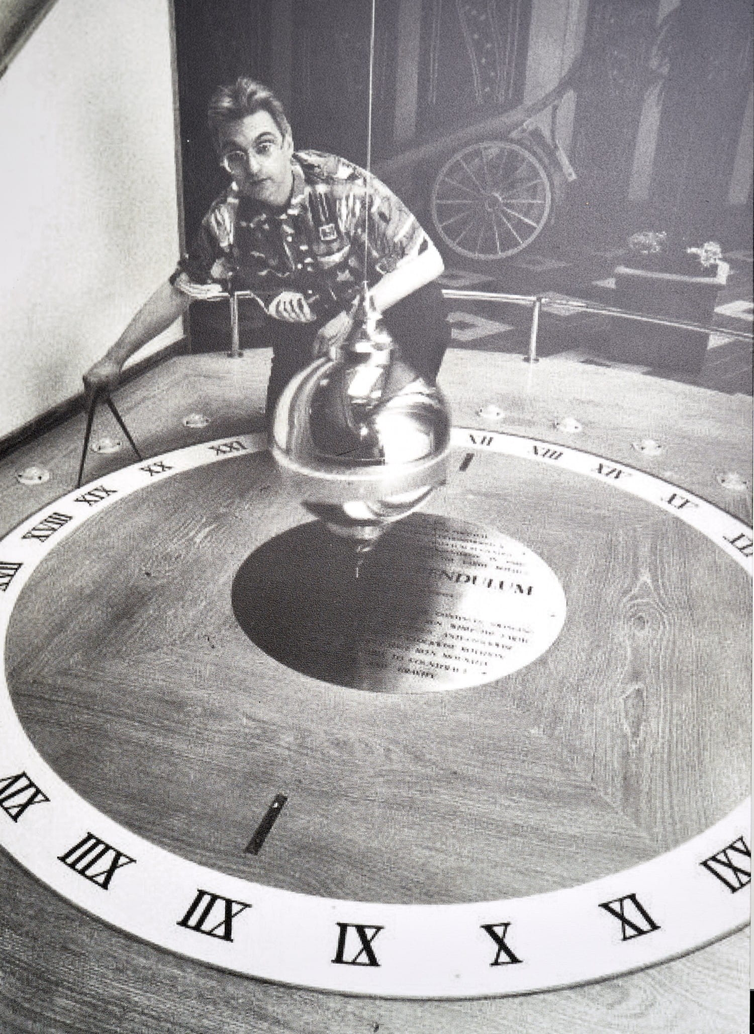 The replica of Foucault's pendulum, conceived as an experiment to demonstrate the earth's rotation. Pic taken in 1988. Herald and Times