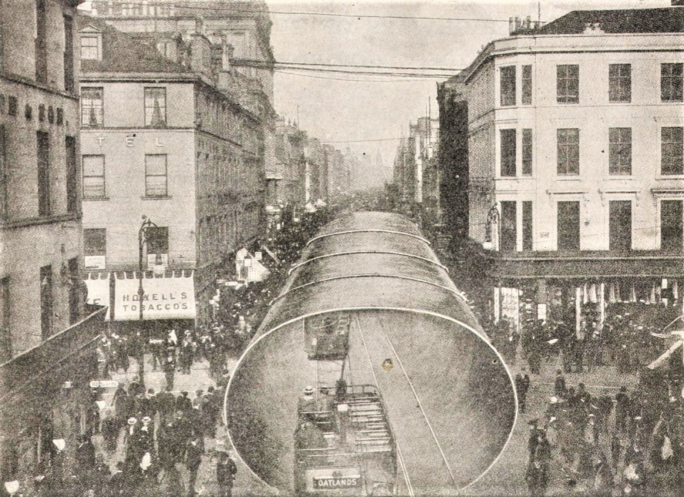 Funnel tunnel on Argyle Street (A funnel of the RMS Lusitania in Argyle Street (The World Reader))