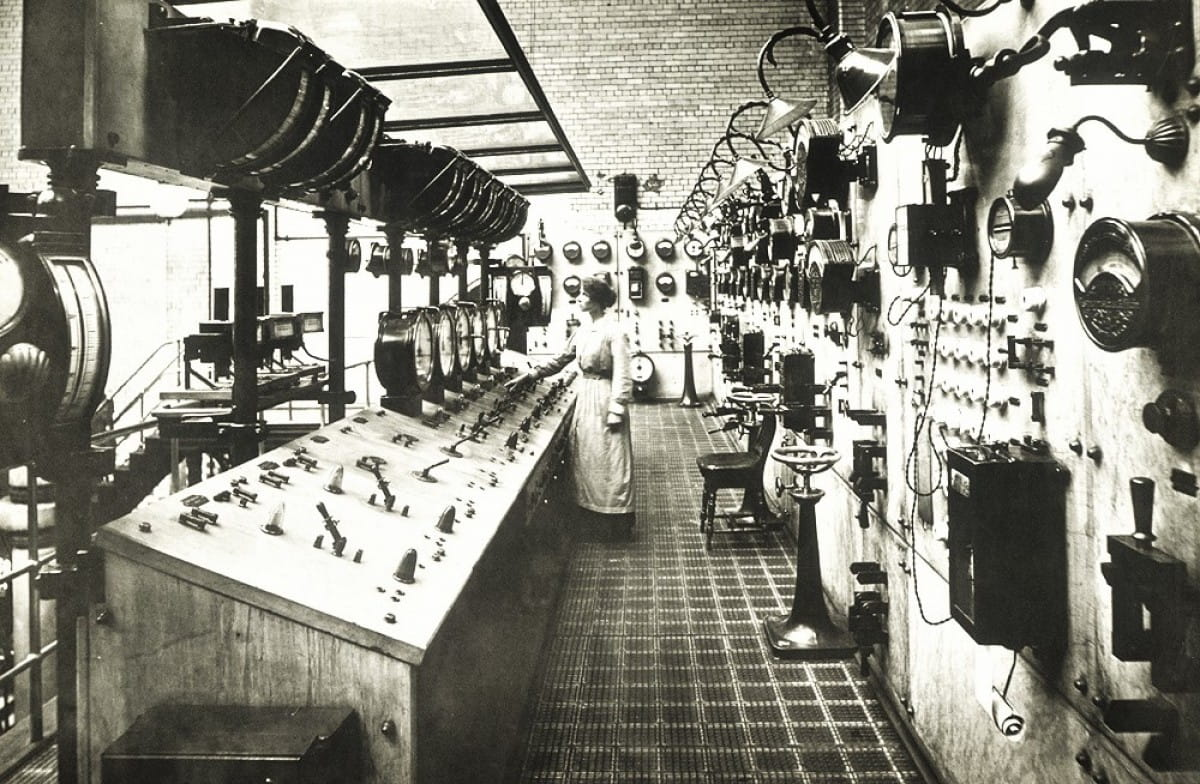 Mission Control - Glasgow (Main Control Room, Pinkston Power Station, 1904 (Glasgow Museums))