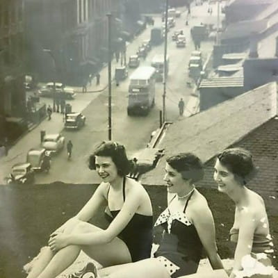 Up on the roof... (Helen Lamb, Bette Craig and Moira Weir on the roof of Copland and Lye, 1950s)