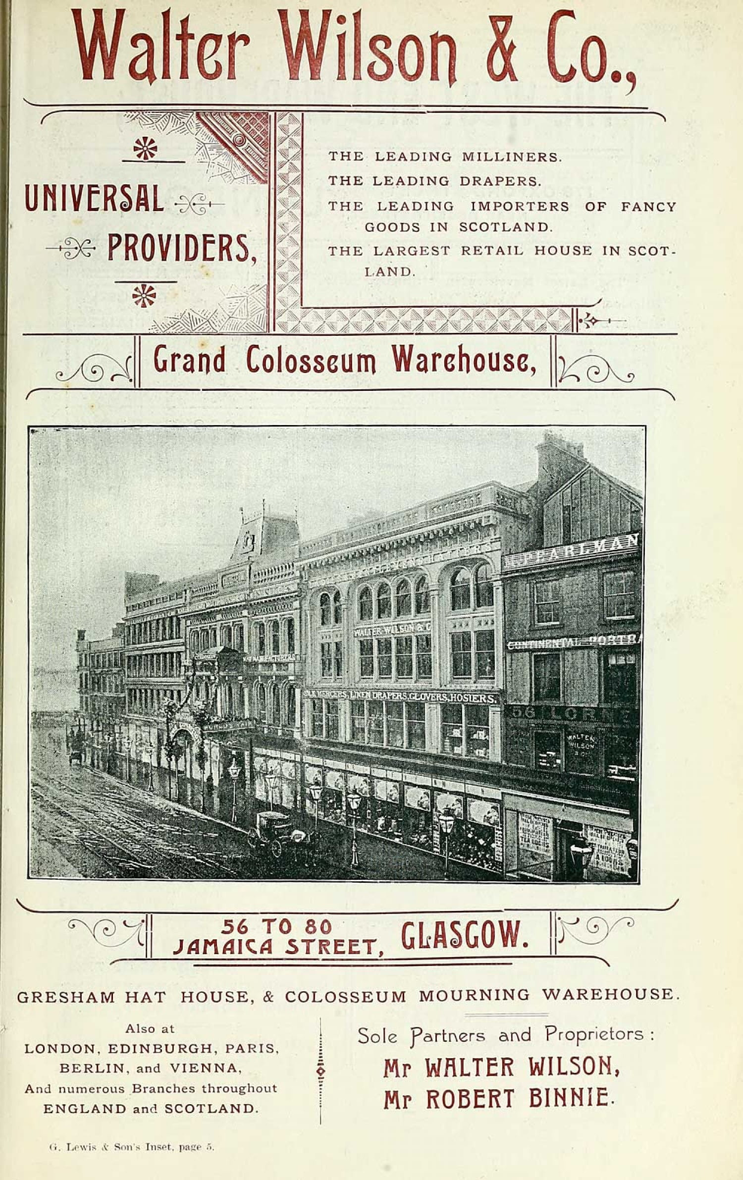 An early advert for his Jamaica Street store