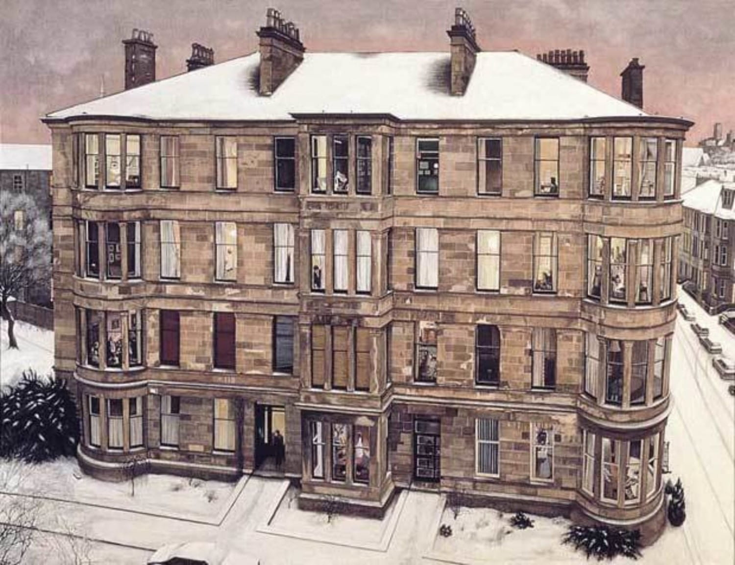 The same Saltoun Street block, as seen in Avril Paton's magical 'Windows on the West' (Glasgow Museums)