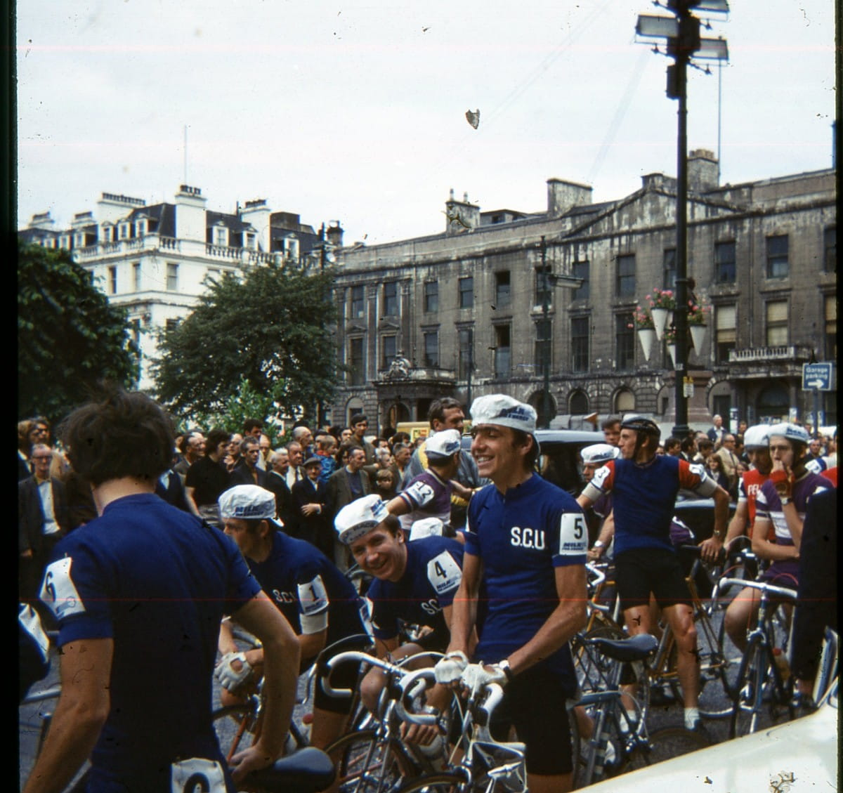 On yer bike! (The riders assemble outside the City Chambers)