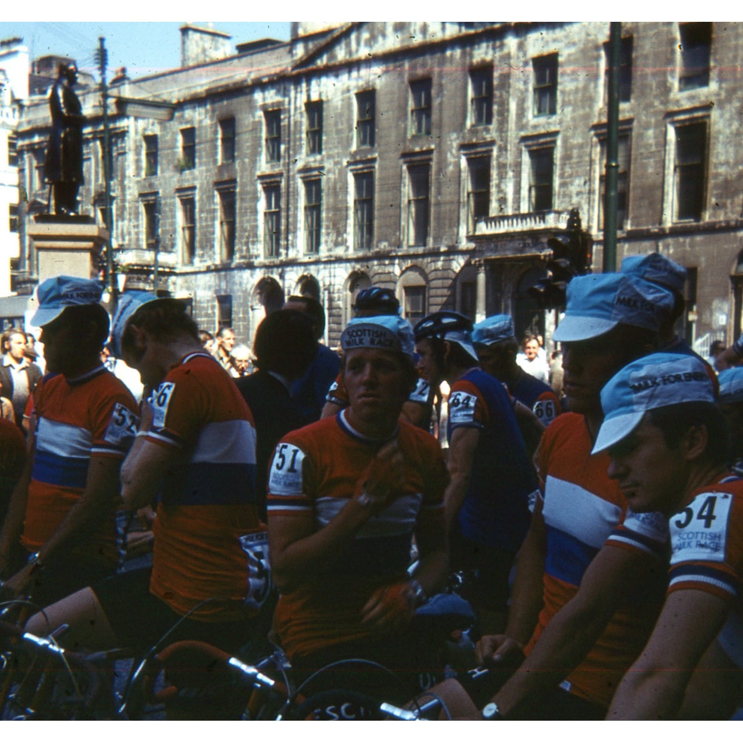 The riders assemble outside the City Chambers