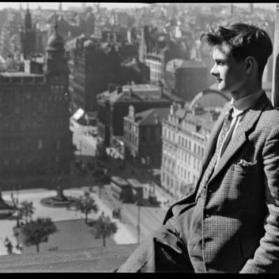 Up on the roof (Douglas Graham on the roof of the City Chambers)