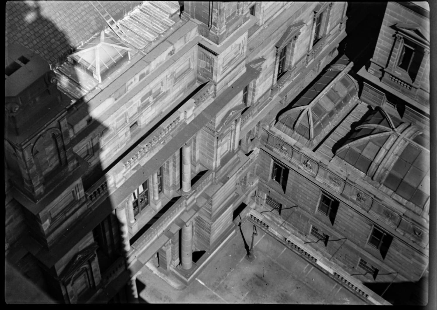 Looking down into the central courtyard