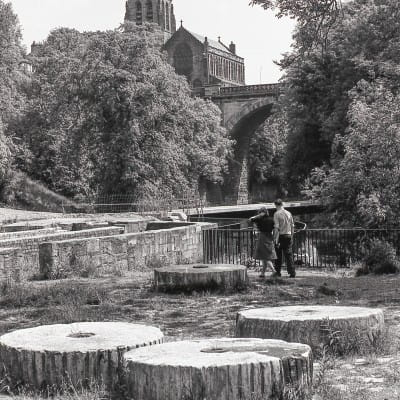 Flour power on the Kelvin (The site of one of the old mills, below Belmont Street, with the magnificent crown spire of Kelvinbridge Parish Church.)