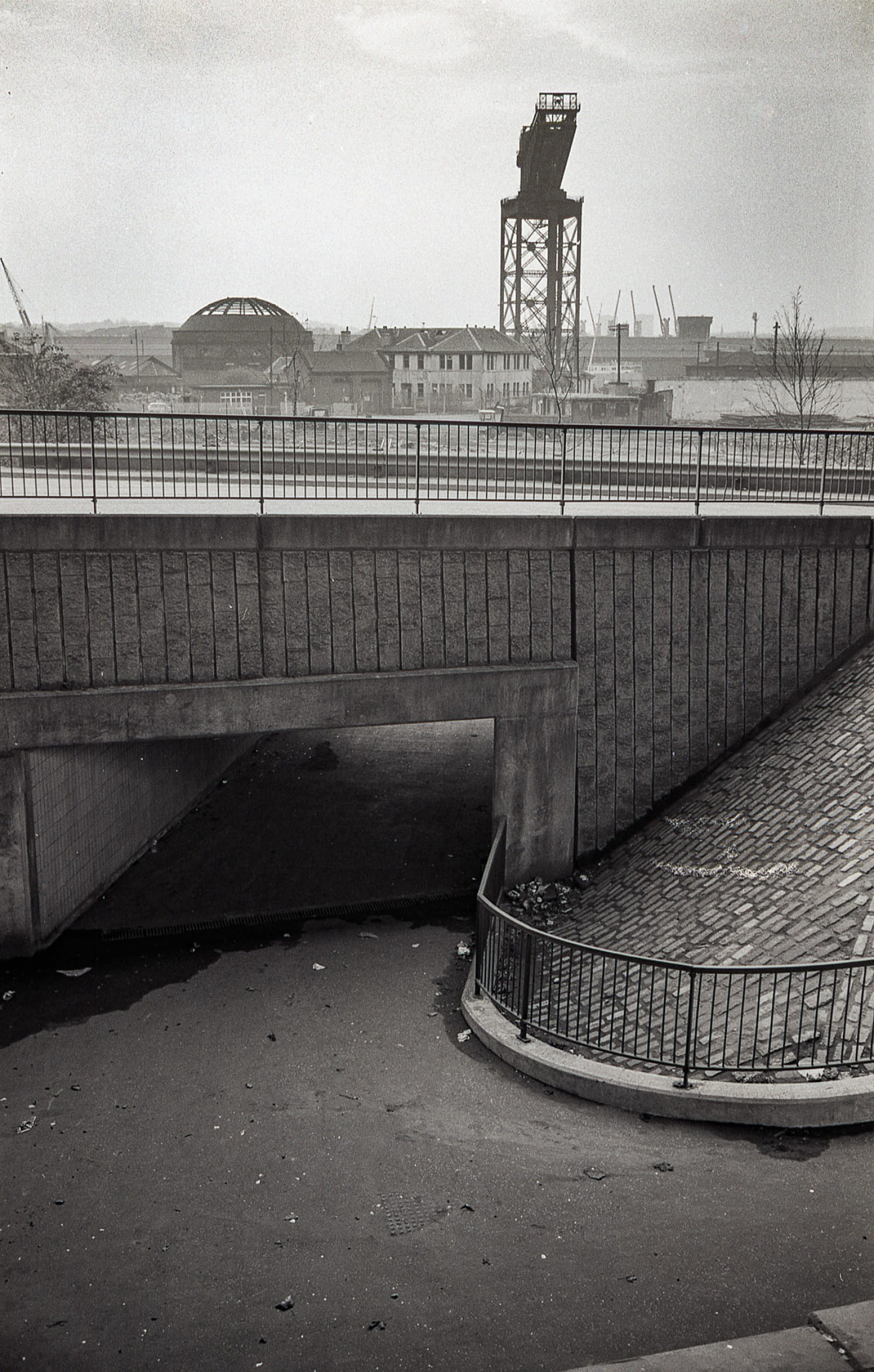 The pedestrian walkway down to the Queen's Dock.