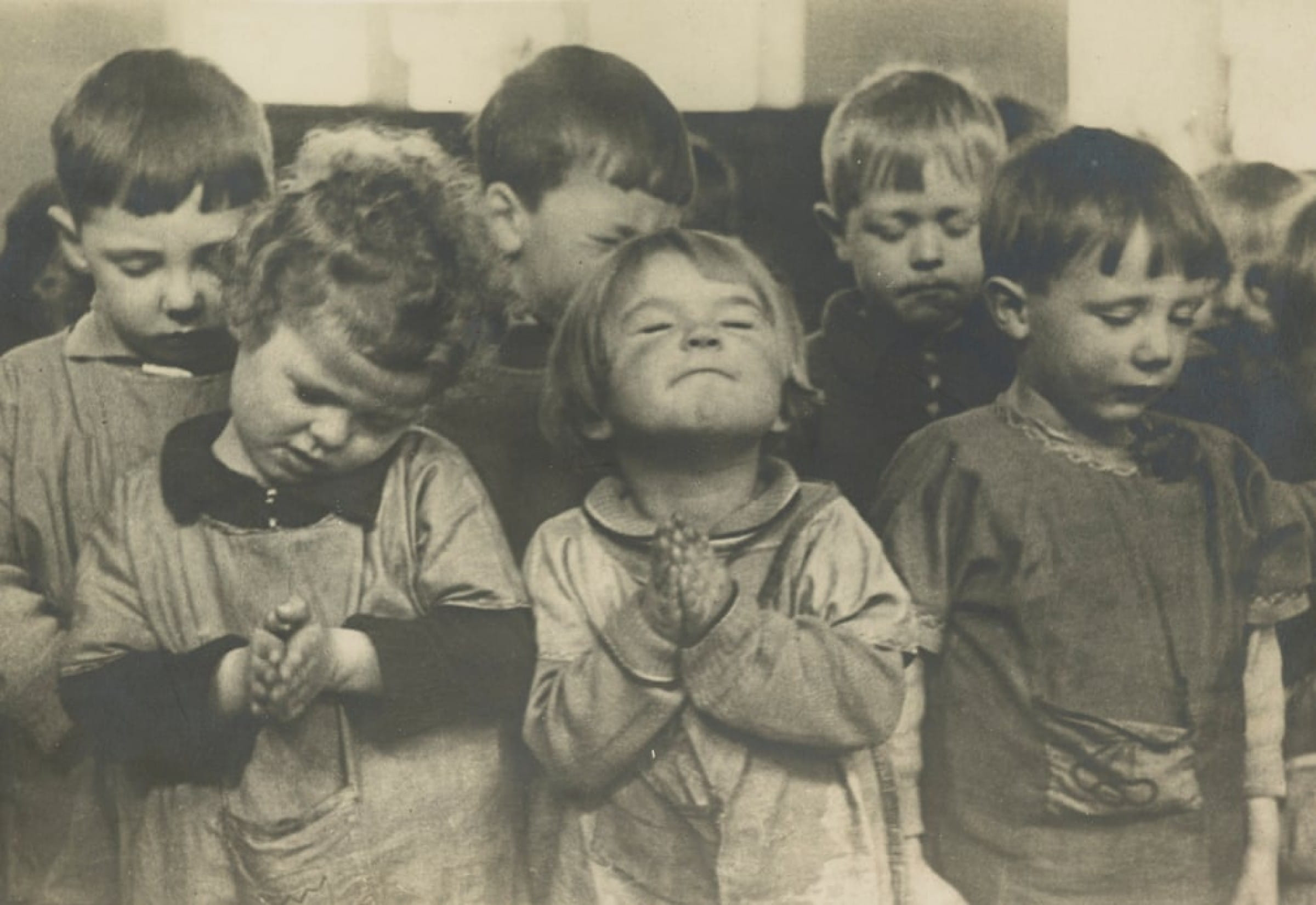 My prayers are answered... (Morning prayers, Gorbals Primary School, Glasgow, 1943 Acquired jointly with assistance from the National Lottery Heritage Fund, Scottish Government and Art Fund  Photograph: Unknown photographer/The Mackinnon Collection/National Galleries of Scotland &am)