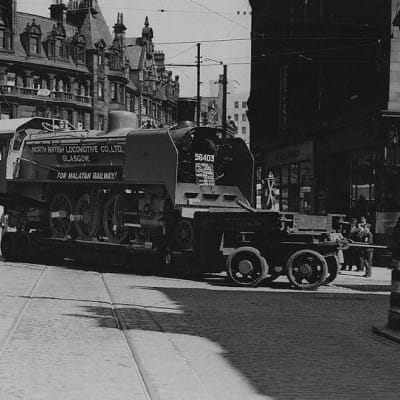 Going loco in Glasgow (A Springburn-built loco passes Charing Cross, en-route to Glasgow Docks, then Malaysia, 1946 (Glasgow Libraries))