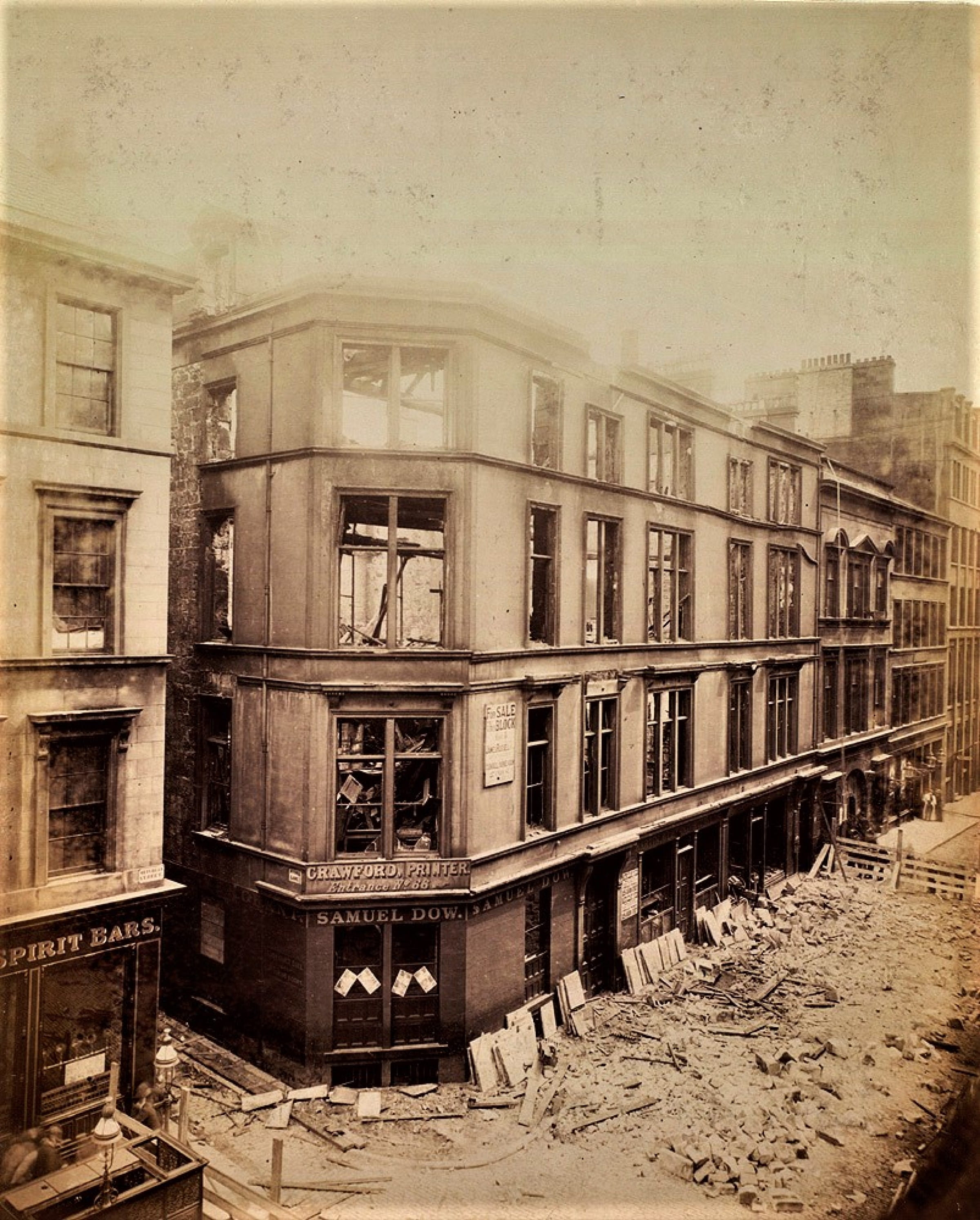 Printing and pasta (The corner of Mitchell Street and Mitchell Lane, in August 1892 (Glasgow Libraries))