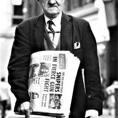 Read all about it! (Evening Times street vendor, 1972 (Newsquest Media Group))