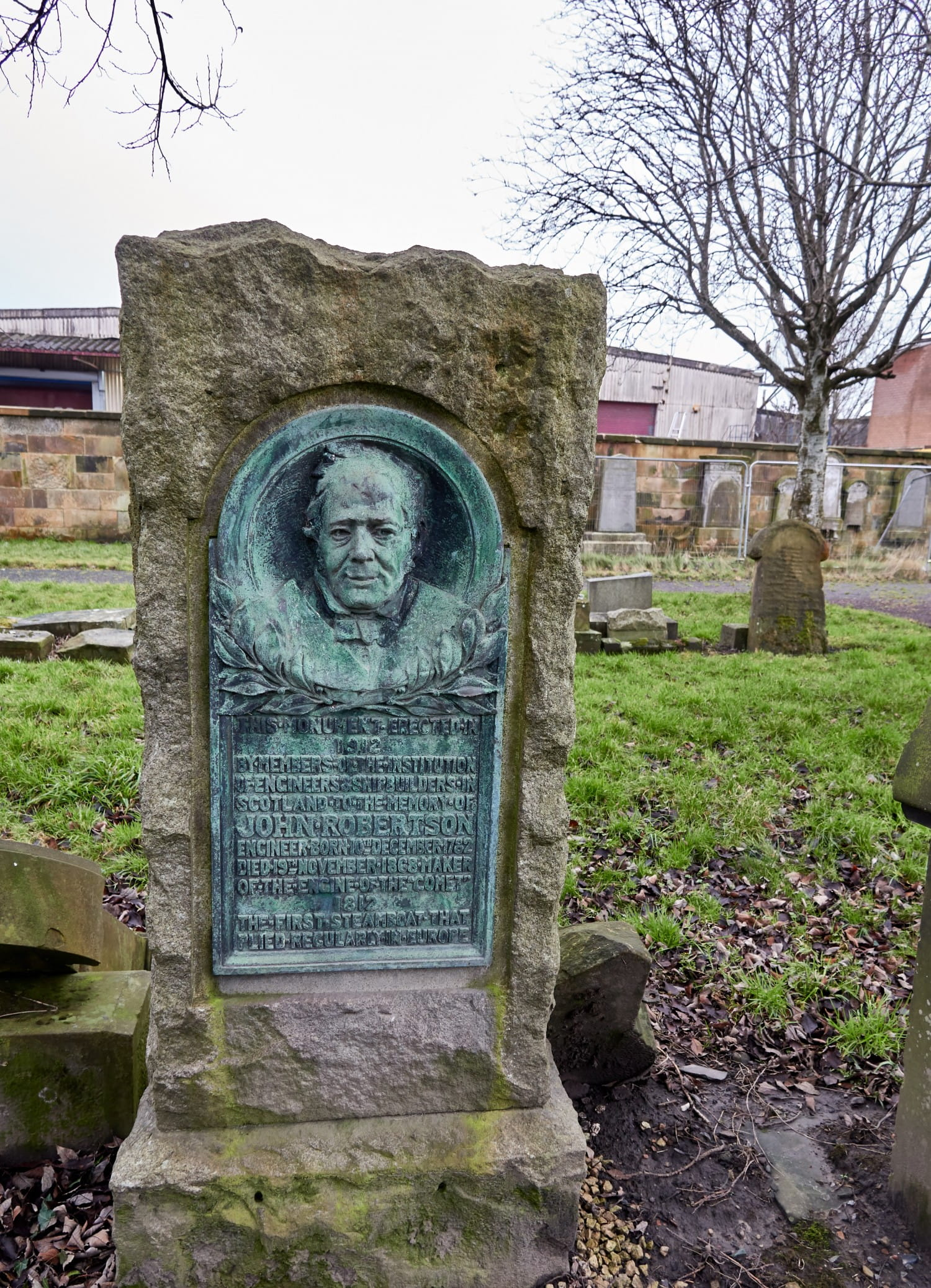 The grave of engineer John Robertson, who made the engine for The Comet, the first to regularly ply between UK and Europe.Pictures: Bill Mackintosh