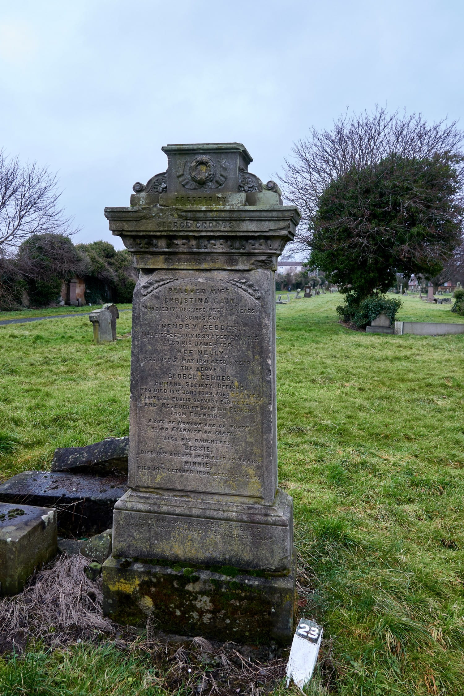 Family grave of George Geddes, Humane Society Officer, who saved more than 100 people from drowning Pictures: Bill Mackintosh