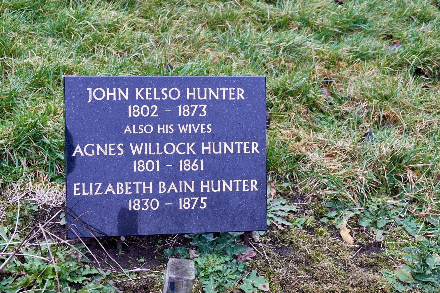 John Kelso Hunter - buried with his wives. Pictures: Bill Mackintosh