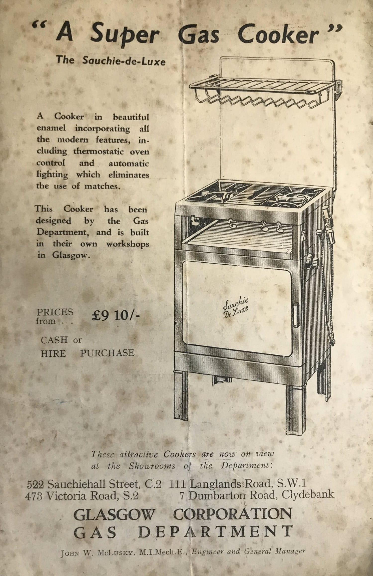 An advert for the 'Sauchie De Luxe' gas cooker.