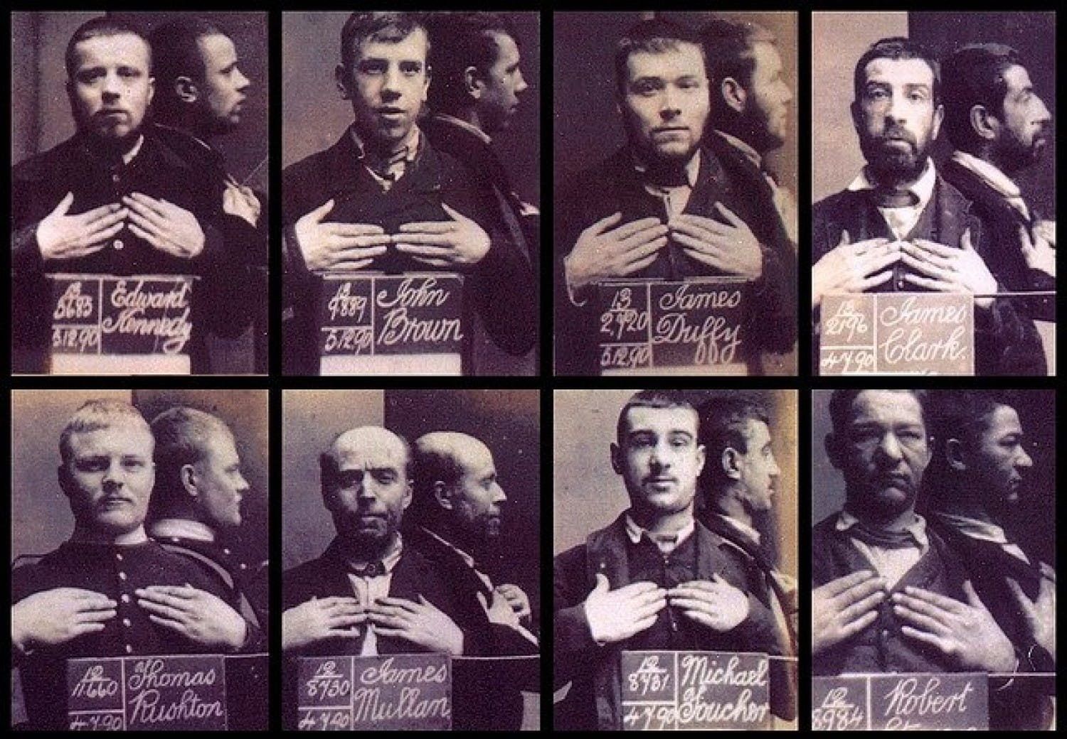 Pre-release mugshots of inmates in 1890