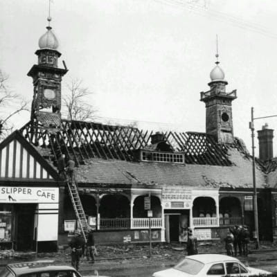 The less than ideal dome show! (The fire-ravaged station in March 1970)