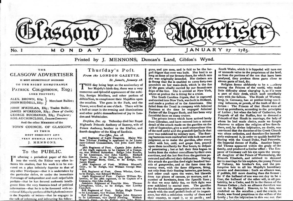Heralding a new arrival (The first edition of what would become The Glasgow Herald)