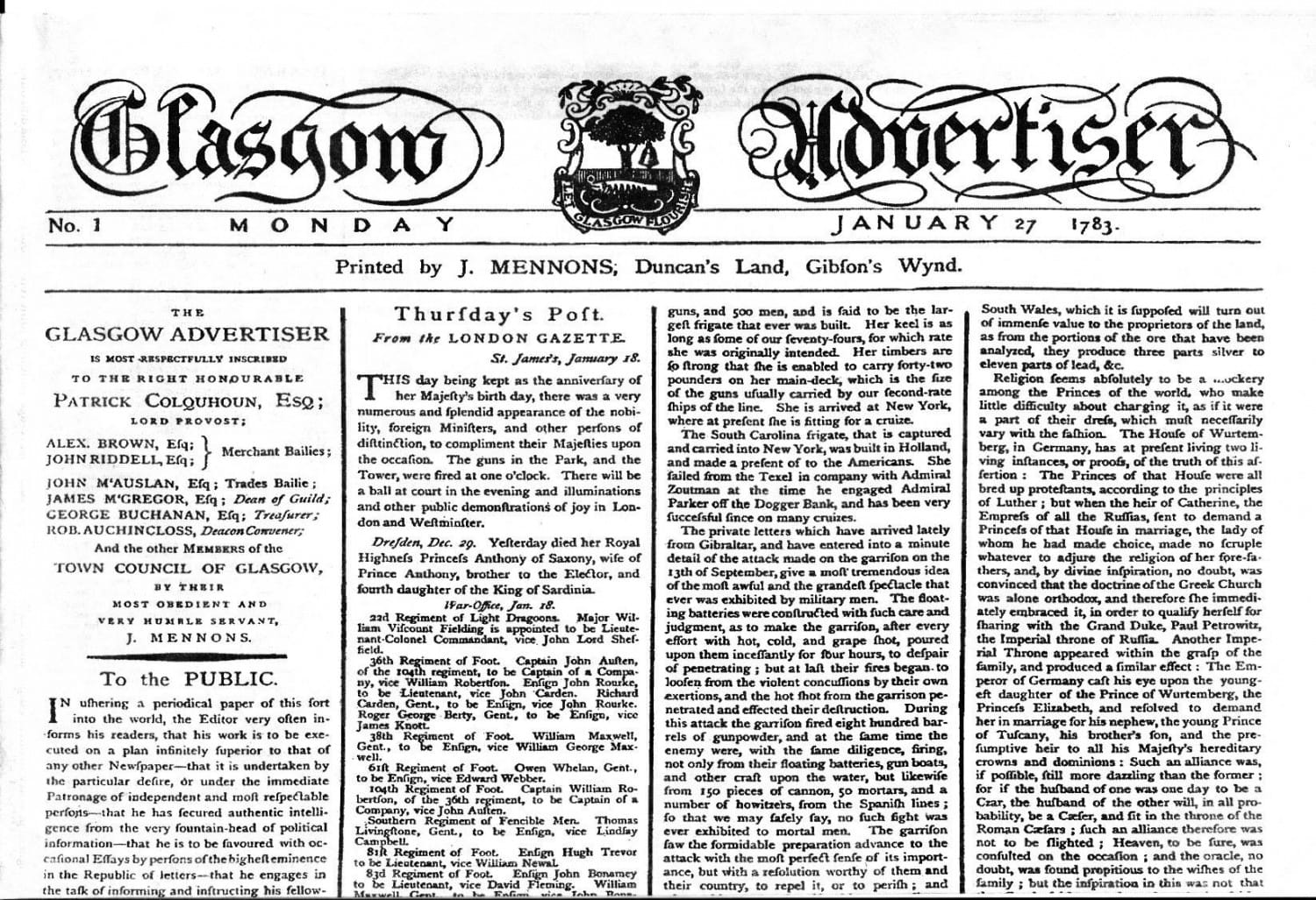 The first edition of what would become The Glasgow Herald