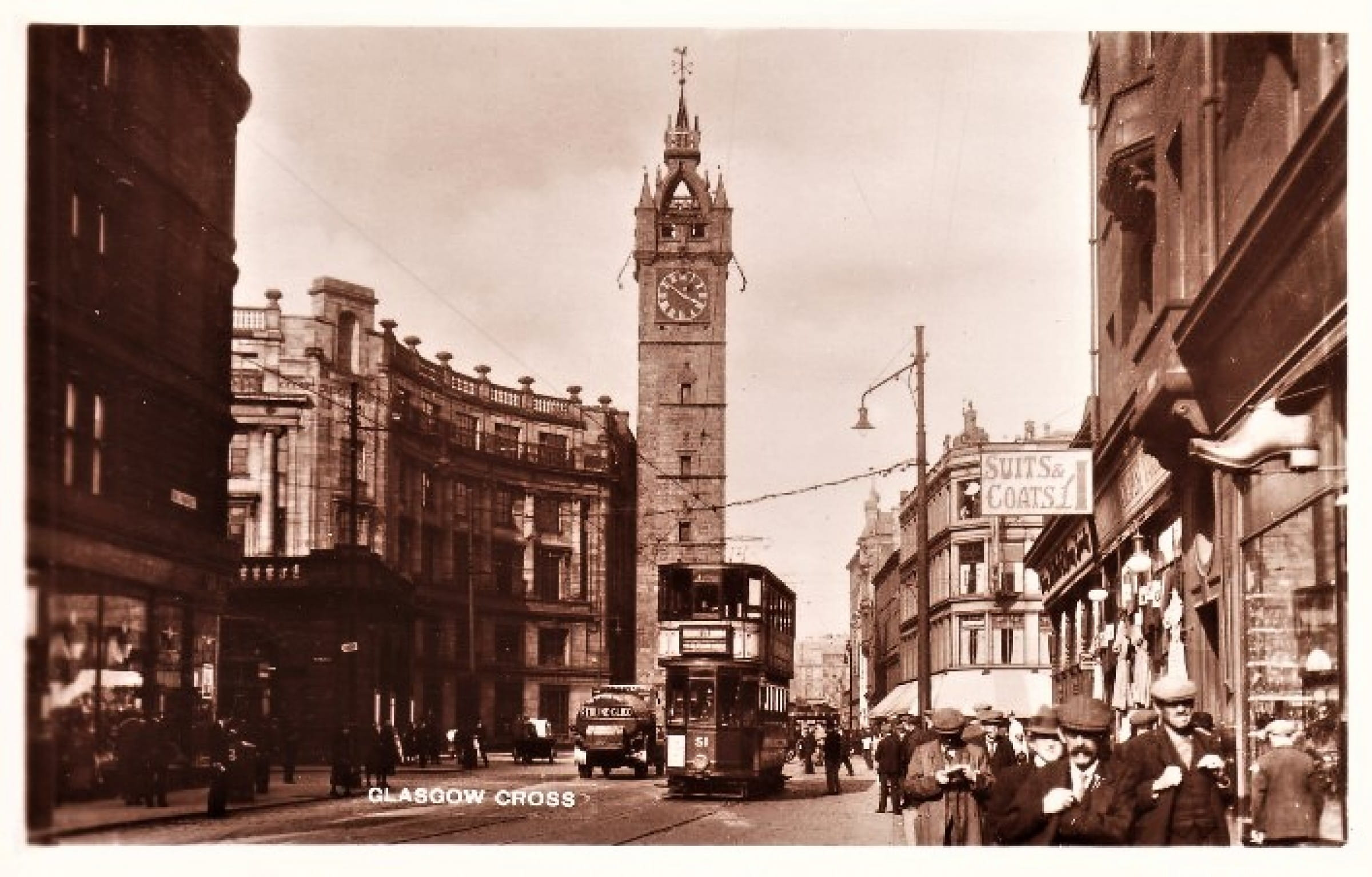 Clogging up the Saltmarket (Glasgow Cross from Saltmarket, with John Moffat's clog shop on the right (Postcard))