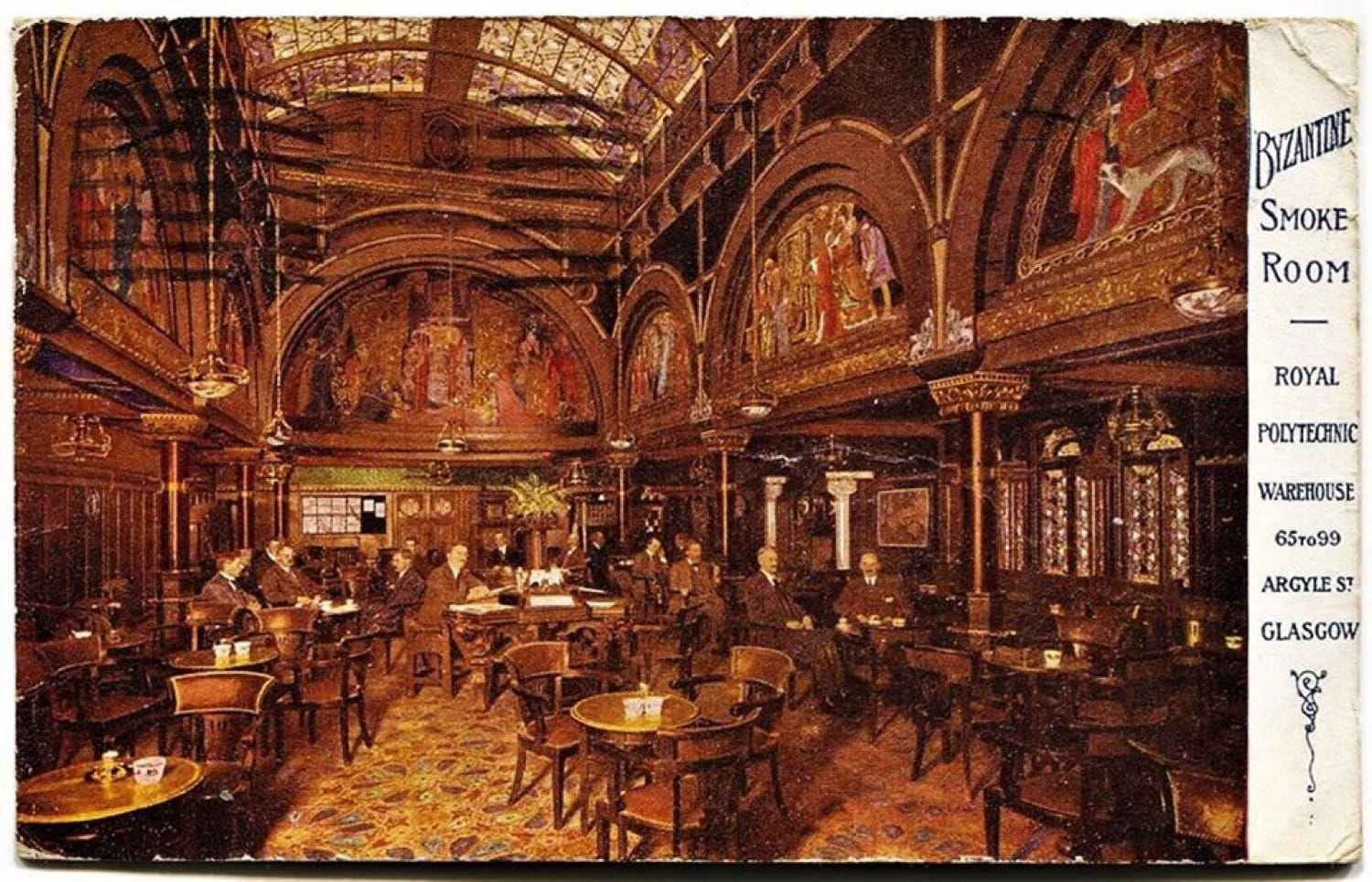 The Byzantine Smoke Room of John Anderson's Royal Polytechnic Warehouse, in Argyle Street, in 1915 (Postcard)