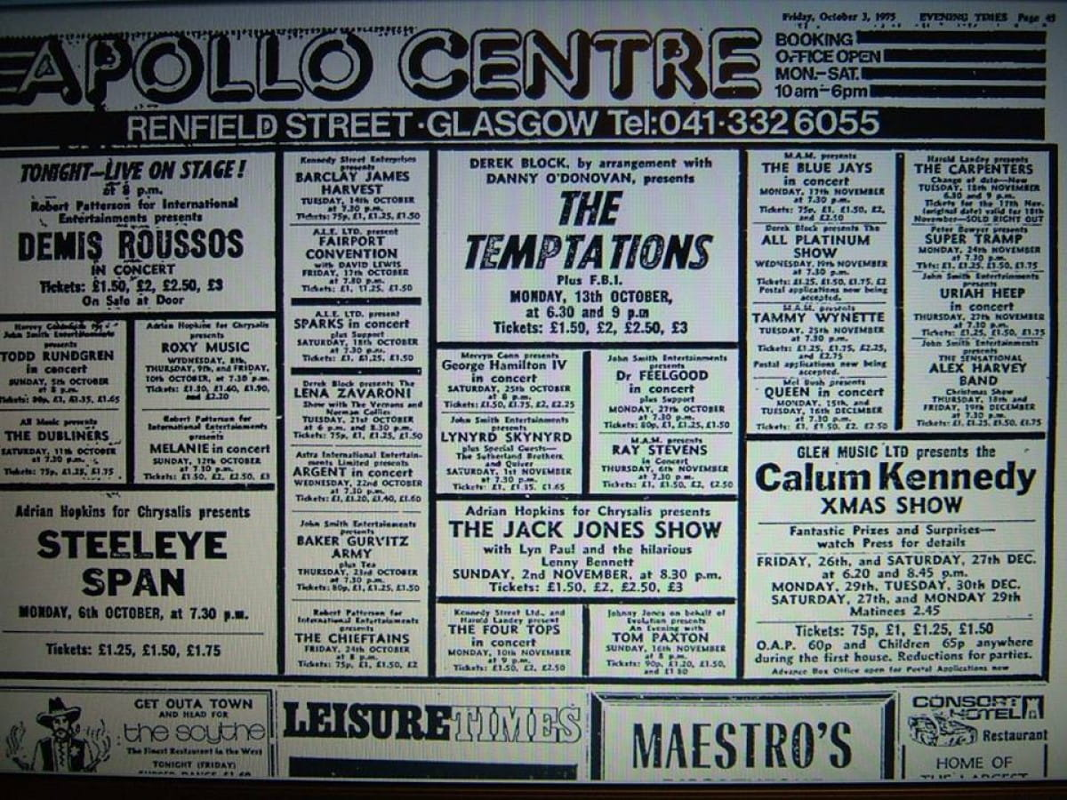 Green with envy at the old Apollo (Apollo Centre ad, Friday Oct 3,1975, Evening Times)