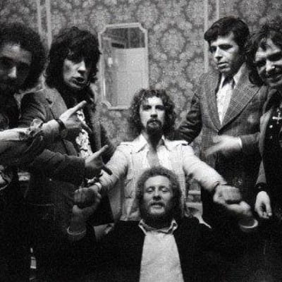 Sitting down from stand-up (Billy with his Glasgow gang, the Dorchester, London, 1974 (Picture: Ronnie Anderson))
