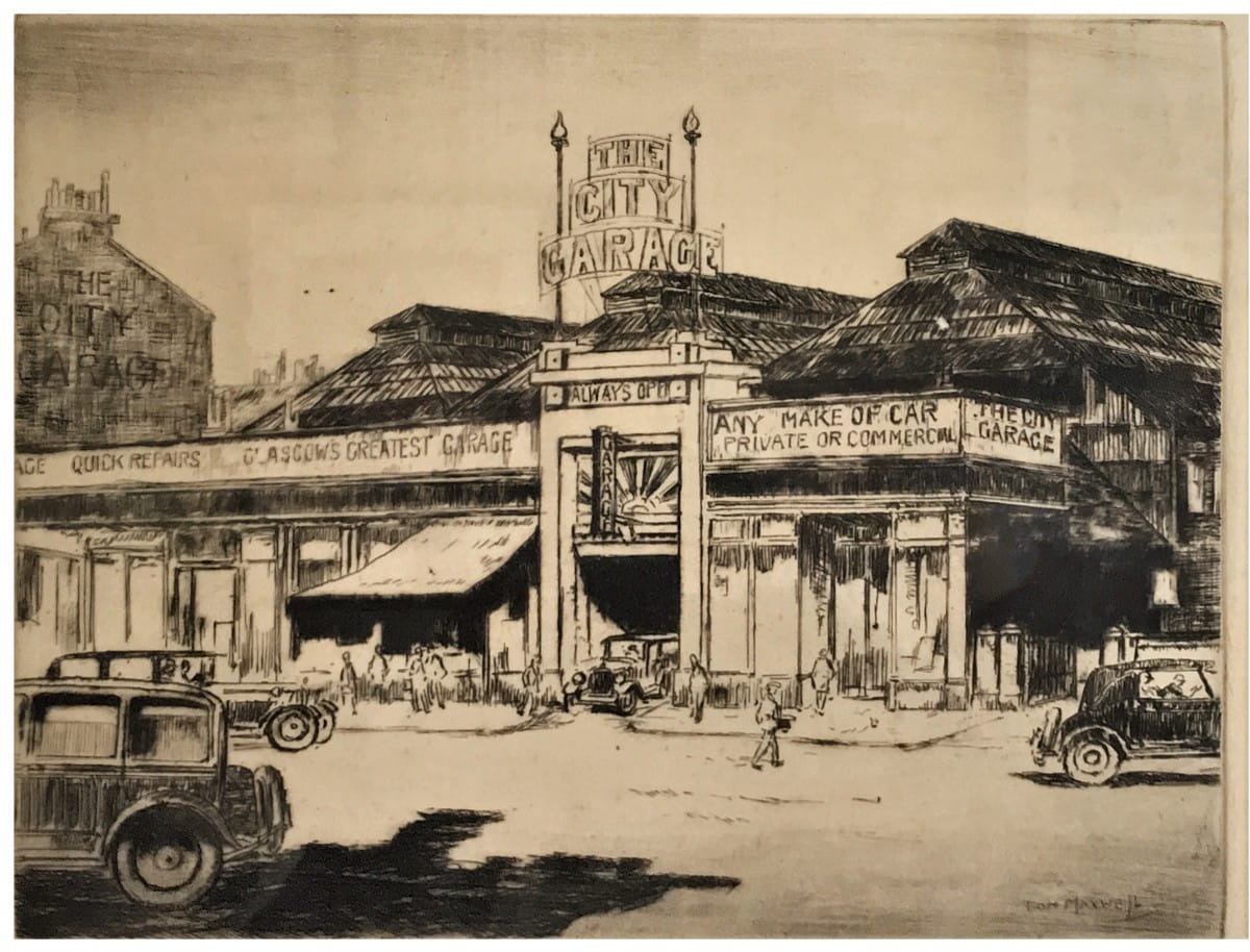 Get out and get under (The City Garage, New City Road, Cowcaddens, 1920, by Tom Maxwell)