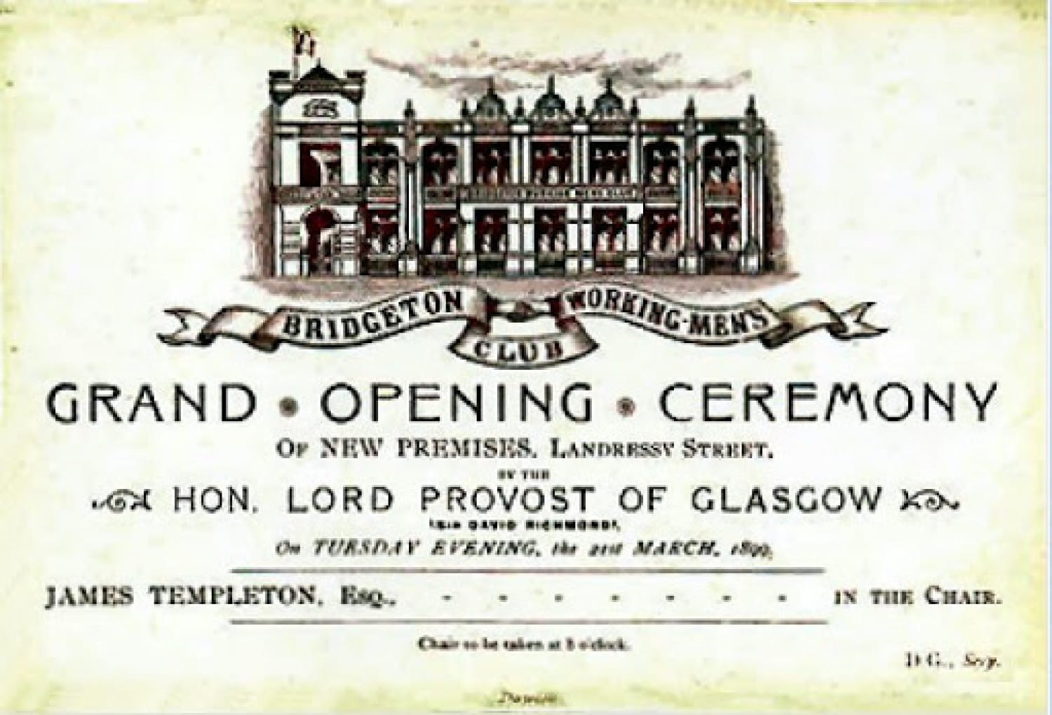 An invite to the opening of the new building (Glasgow City Archive)