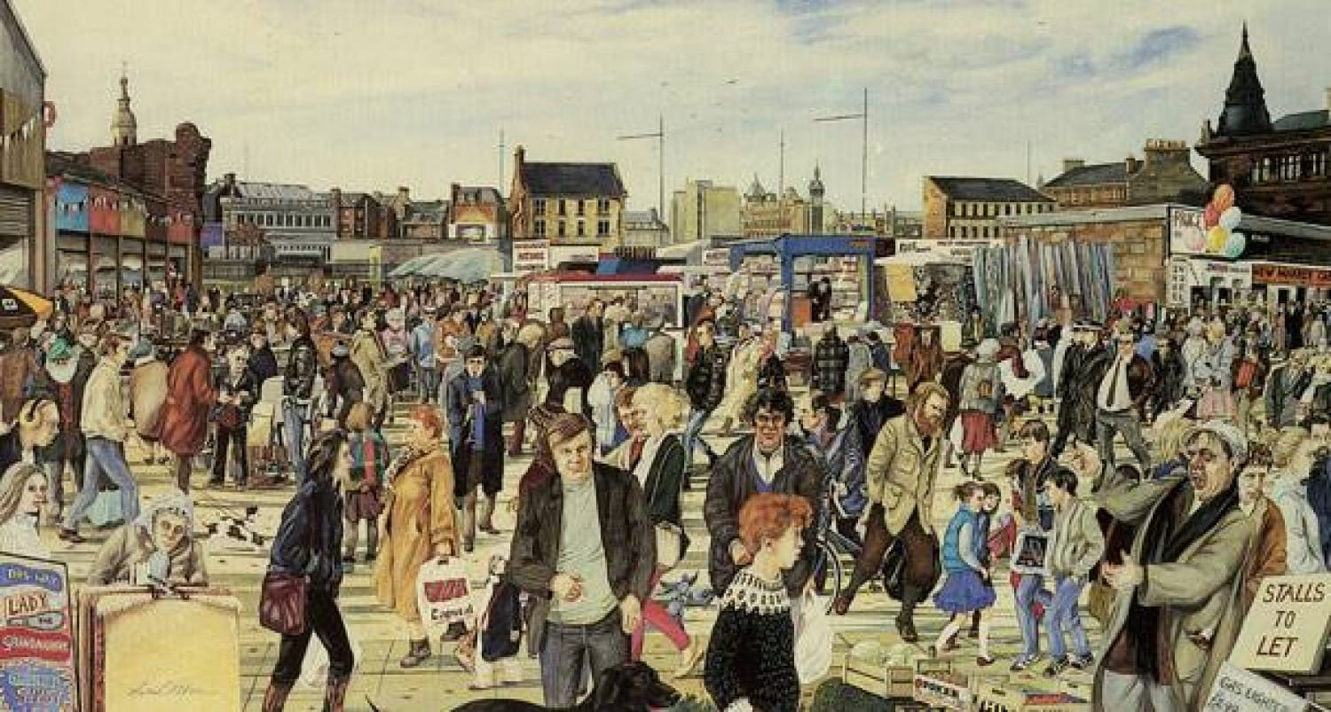 Avril Patton's 1984 painting 'The Barras' (that's Avril, in the dark outfit, with her bag slung over her shoulder) Picture: Glasgow Museums