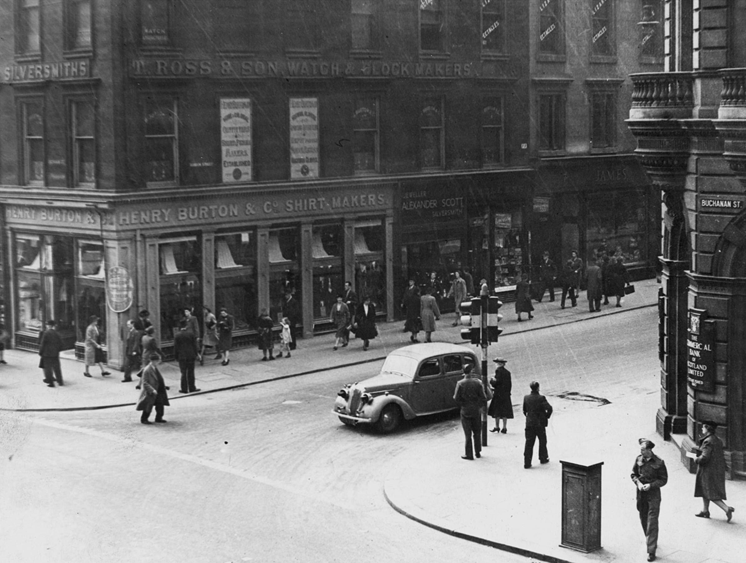 Gone for a Burton... (Henry Burton & Co, on the corner of Buchanan and Gordon Street, 1940 (Glasgow City Archives))