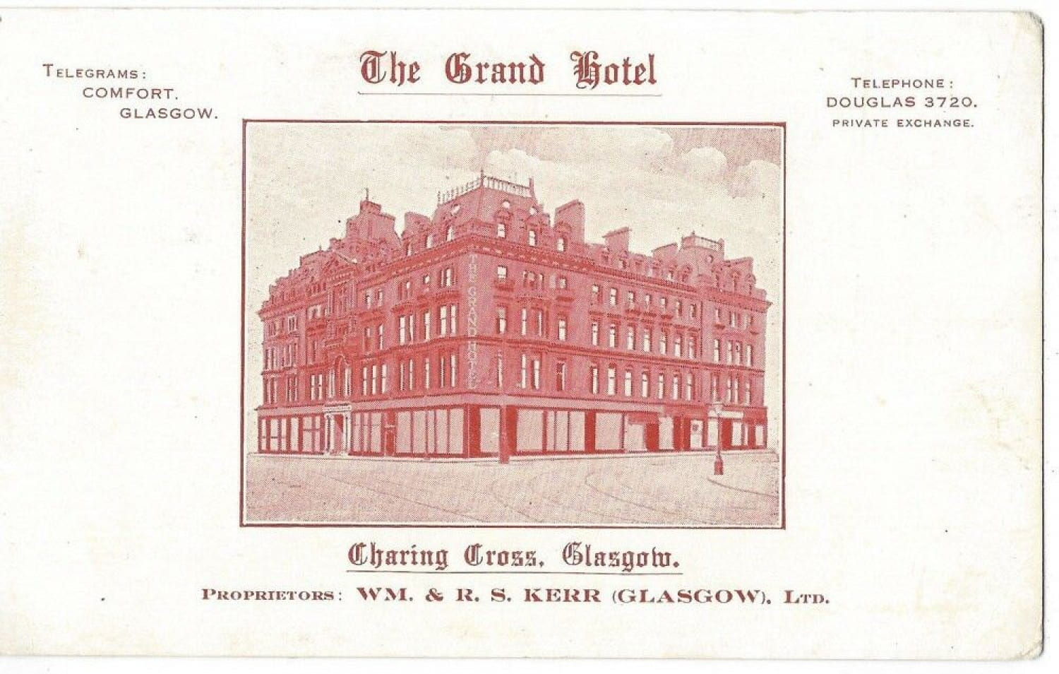 One of the hotel's advertising cards