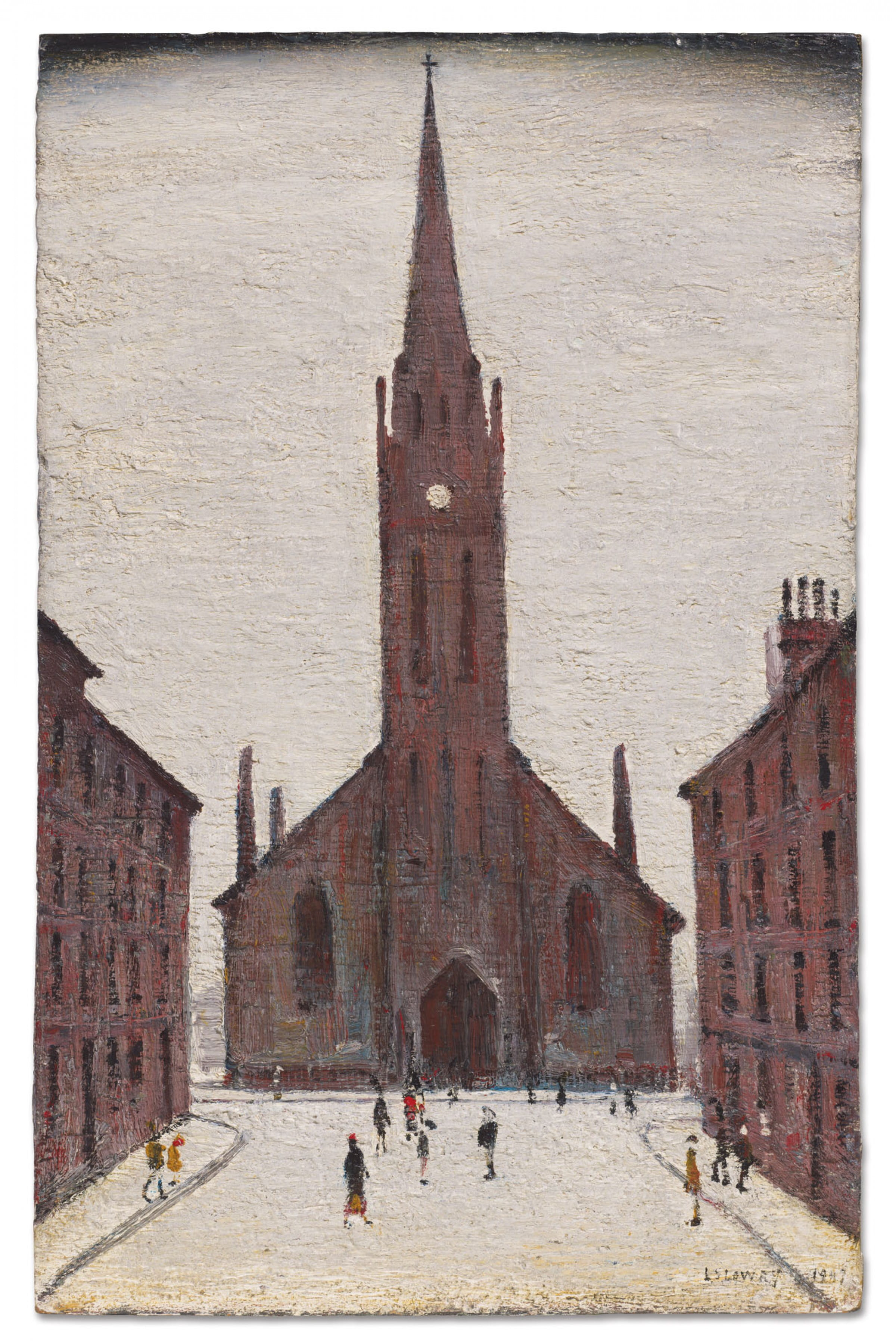 Lowry comes to town (St Matthew's Church, Bath Street, 1947, by LS Lowry)