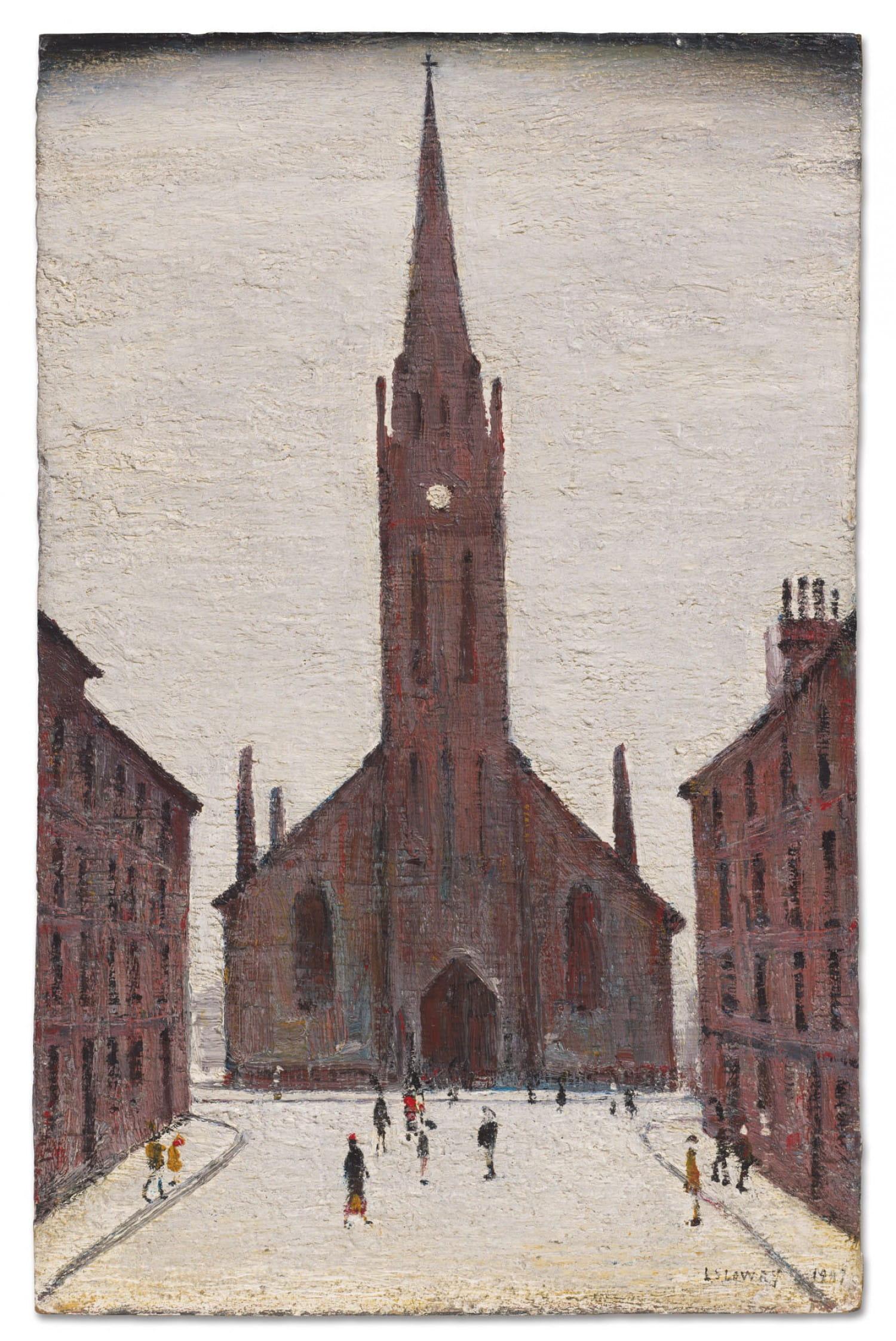 St Matthew's Church, Bath Street, 1947, by LS Lowry