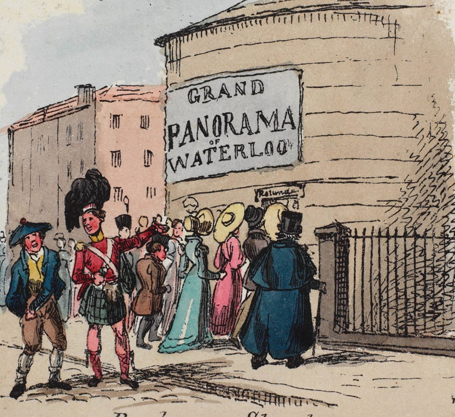Coloured cartoon from the Glasgow Looking Glass 25 June 1825, advertising a grand Panorama of Waterloo at a rotunda theatre in Buchanan Street.