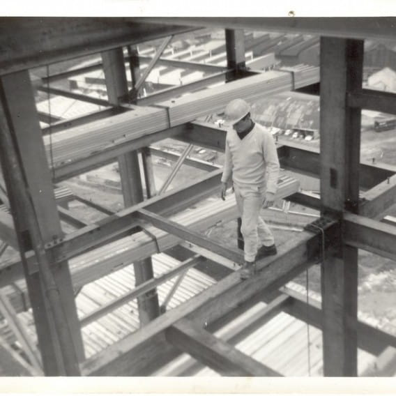 Bob on the job (Bob dices with death on the Red Road steelwork)