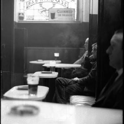 Three men walk into a bar (Seaforth Bar, Gorbals, 1966, by Steven Berkoff)