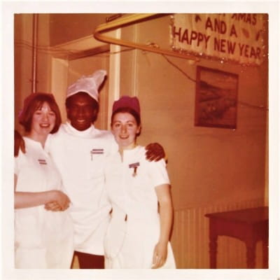 Healing hands (Philip, centre, the nurse who cared for me in 1972.)