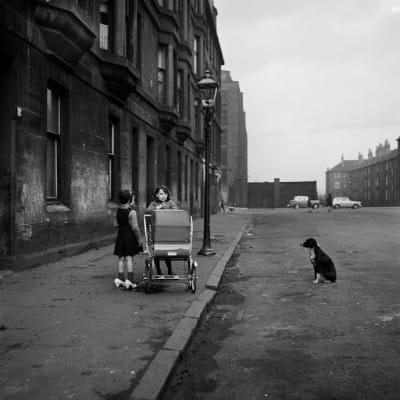 Not very pedigree chum (Girls with pram and dug, Gorbals, 1963 (Oscar Marzaroli))