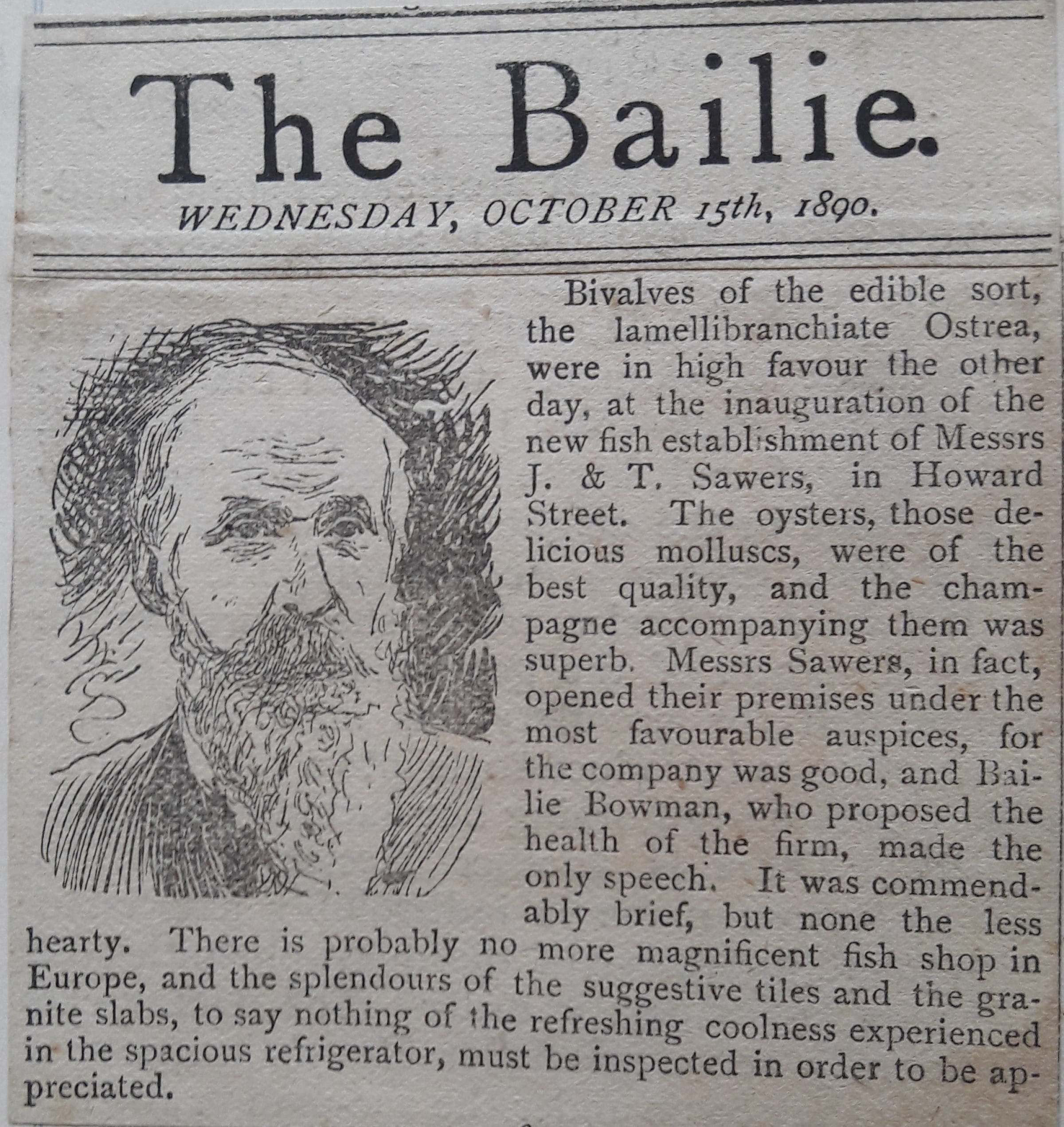 Something fishy (How 'The Bailie' reported the opening of the Howard Street shop and oyster bar in 1890 (Picture: John Sawers))
