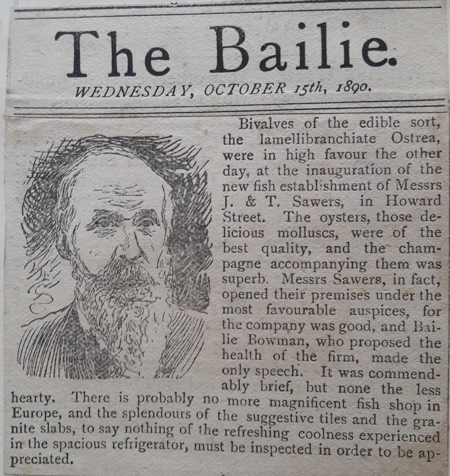 How 'The Bailie' reported the opening of the Howard Street shop and oyster bar in 1890 (Picture: John Sawers)