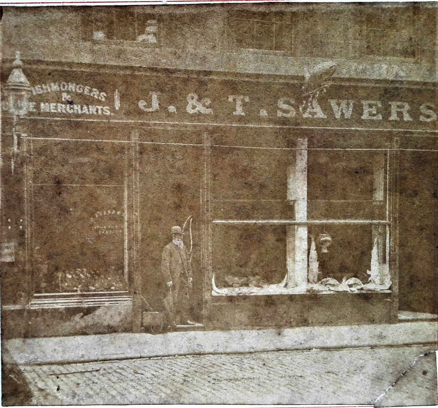 The Howard Street premises in 1890, complete with its hanging fish sign (Picture: John Sawers)