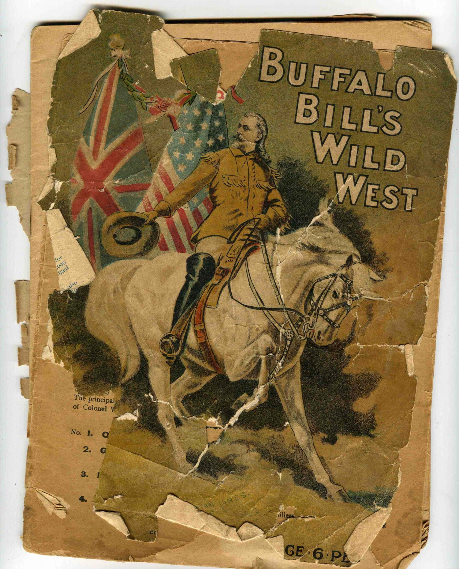 A tattered programme for Buffalo Bill's 1904 visit to Glasgow