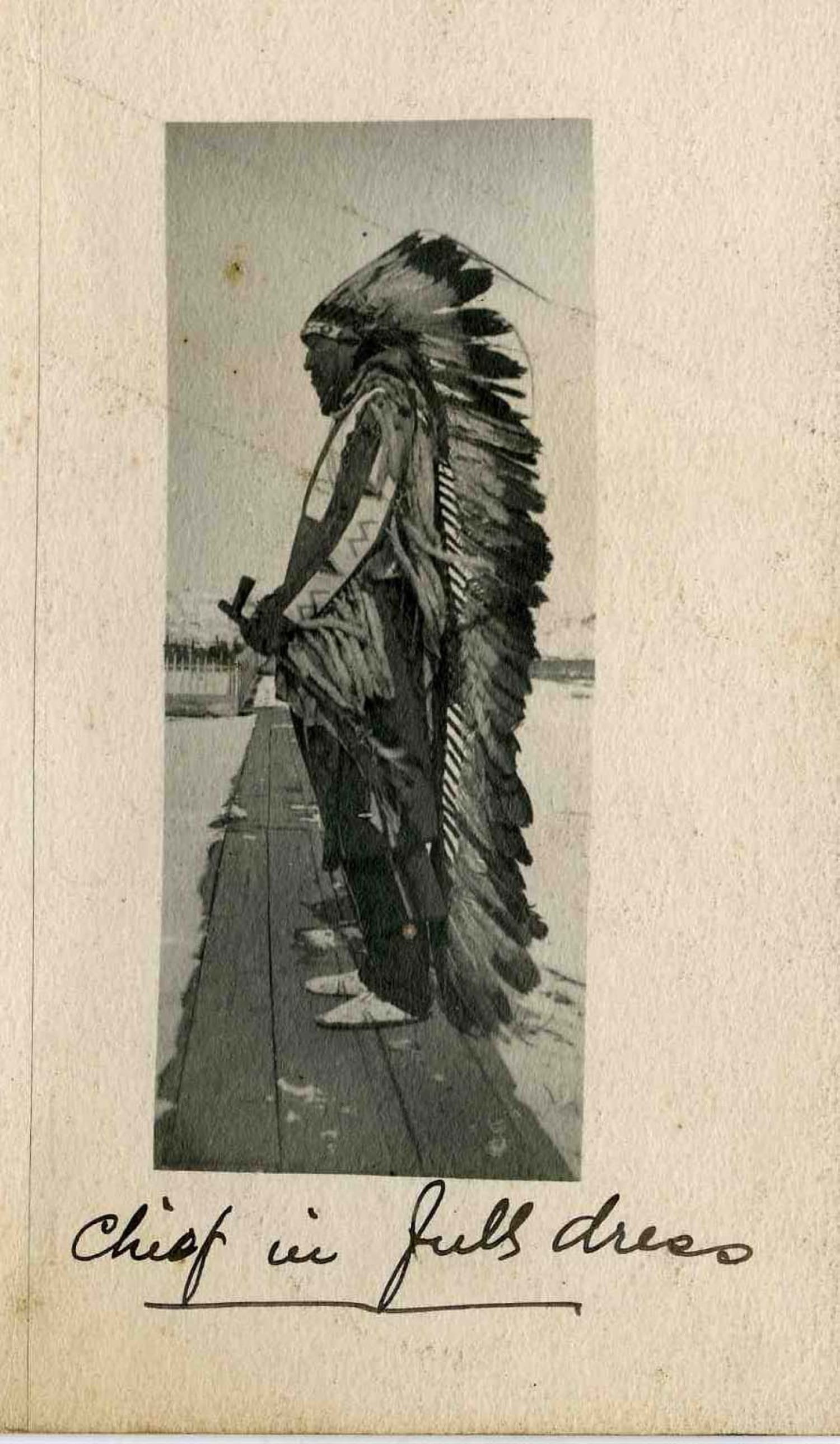 A Native American chief in traditional costume