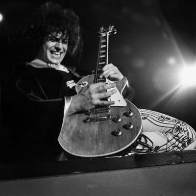 Ride a White Swan (Marc Bolan, on stage at the Apollo, in January 1974 (Daily Record))